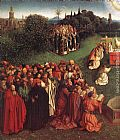 Jan van Eyck The Ghent Altarpiece Adoration of the Lamb [detail left] painting